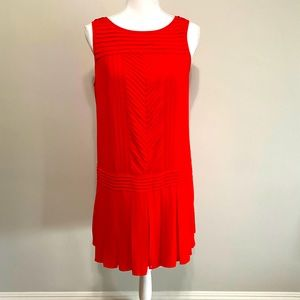 Loft Red dress with pleated detail